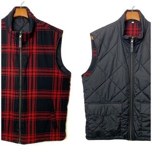J. CREW Quilted Reversible Vest Black Buffalo Sz L